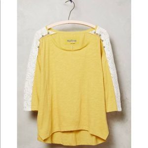 Anthro Little Yellow Button Mabel Lace Sleeve Top